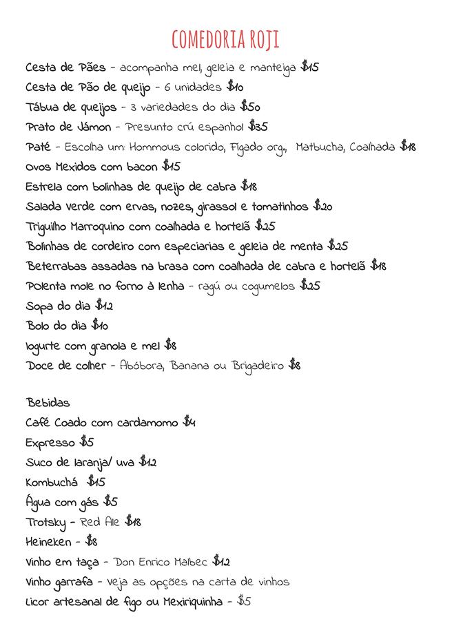 Cardápio - Comedoria Roji